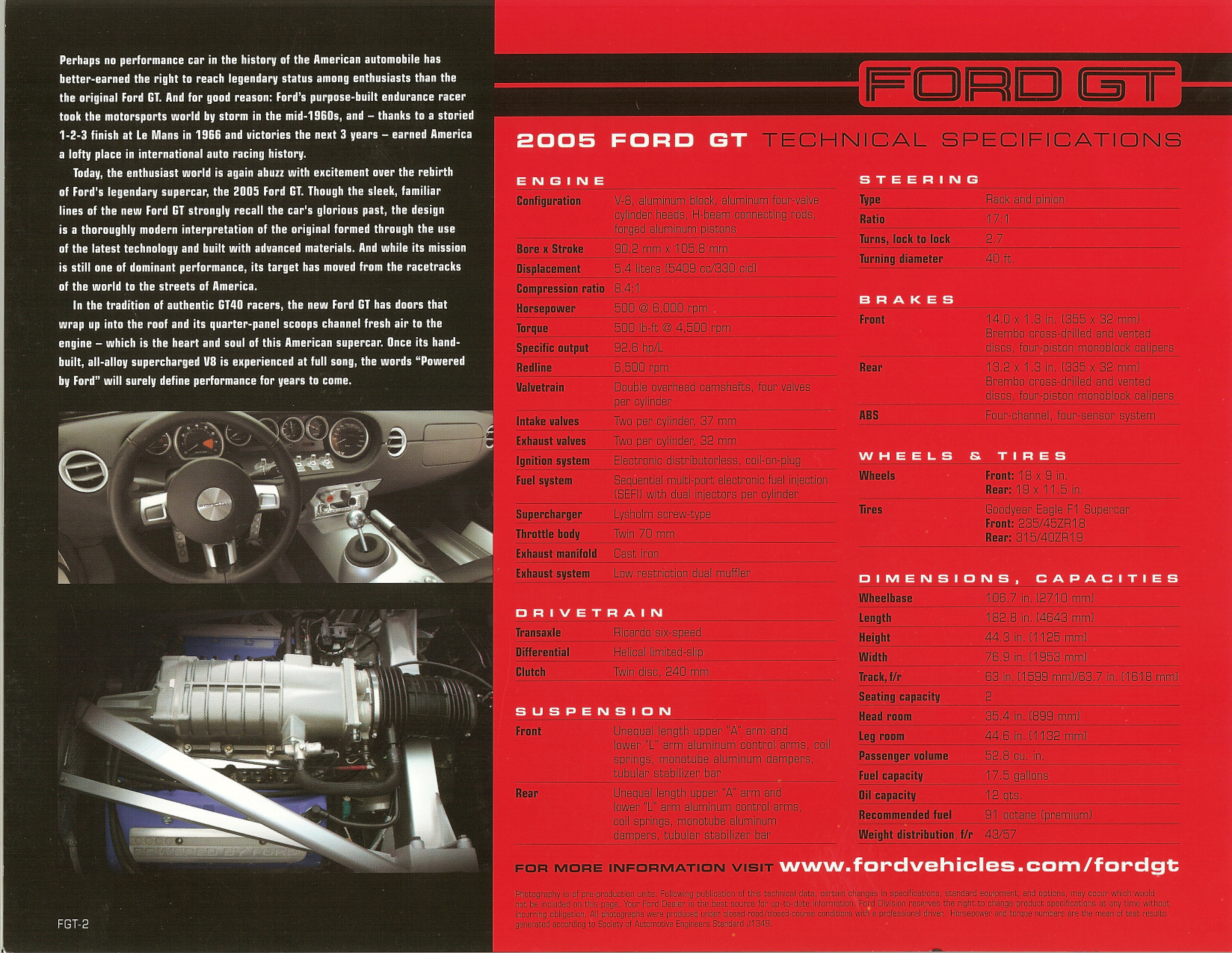 2005 Ford GT Technical Specifications