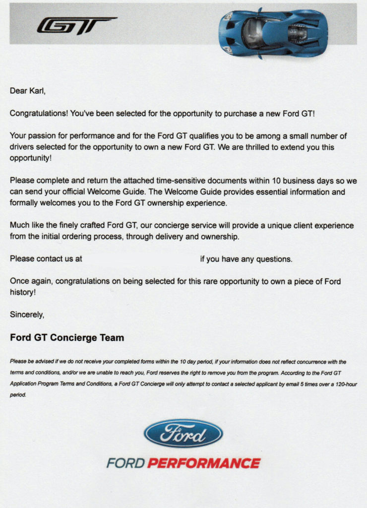 Ford GT Allocation Letter