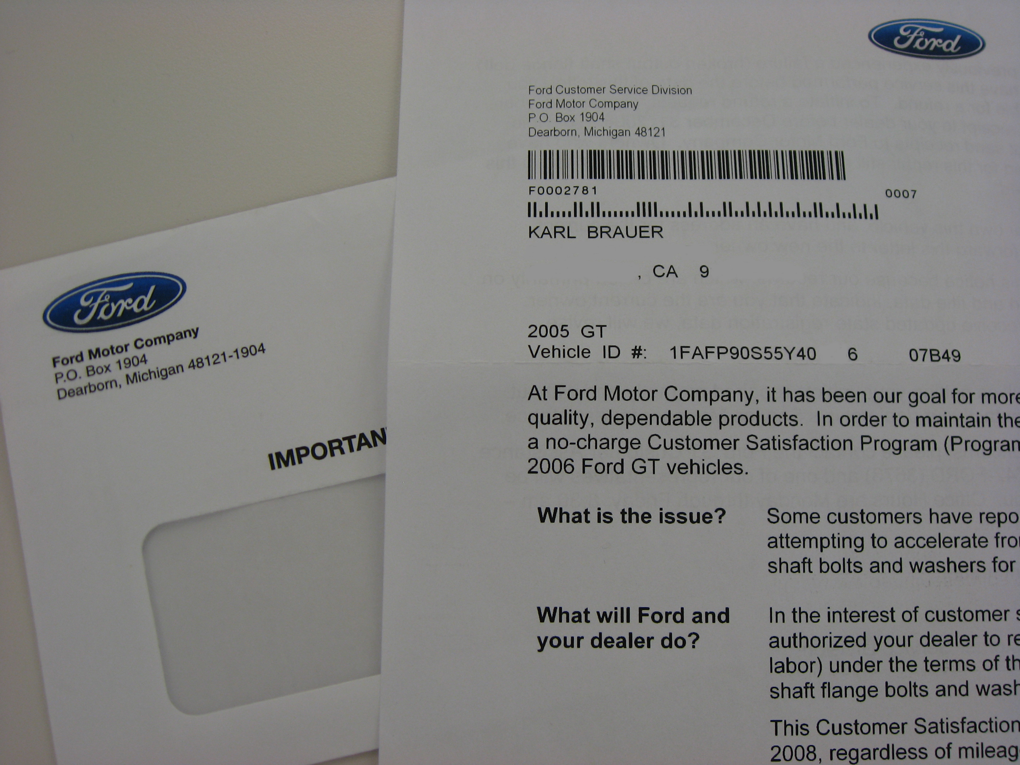 2005 Ford GT Long Term Axle Bolt Recall Notice